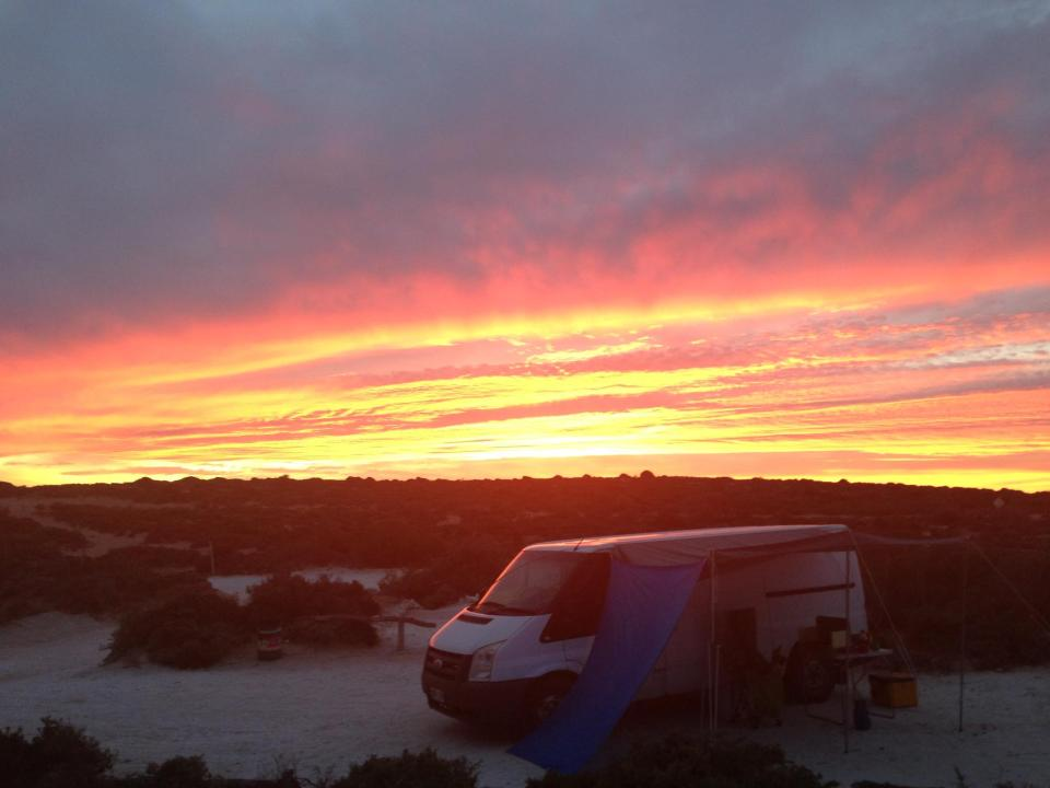 Jay camping at the beach on the Nullabor Plane.