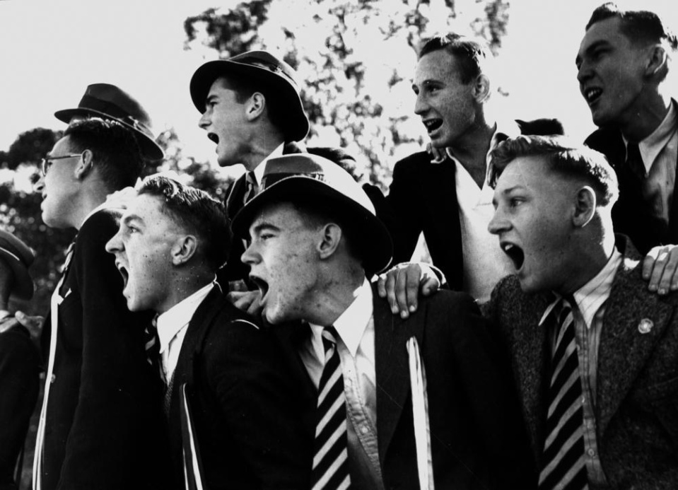 Date: circa 1940 Location: Queensland, Australia Who: boys at a sporting event