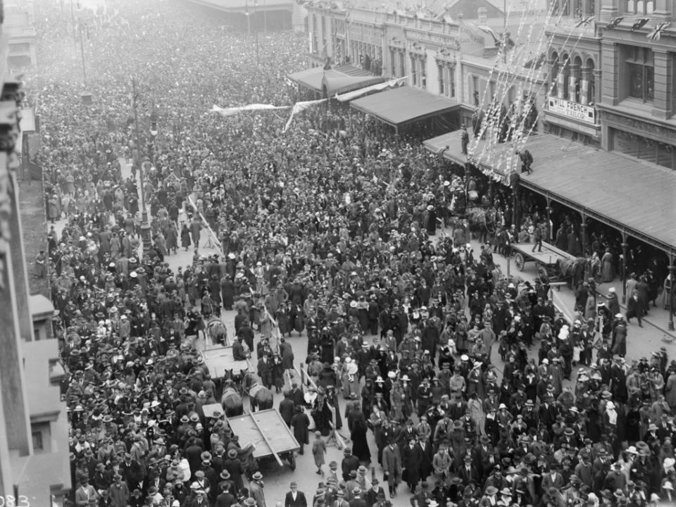 Date: circa 19 July 1919 Location: Swanston street, Melbourne Australia.
