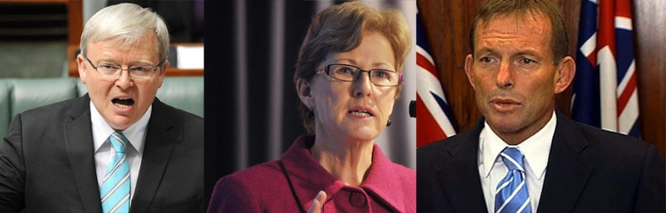 From Left to Right: Current Prime Minister - Kevin Rudd, Green's Leader - Christine Milne, Liberal Party Leader - Tony Abbott